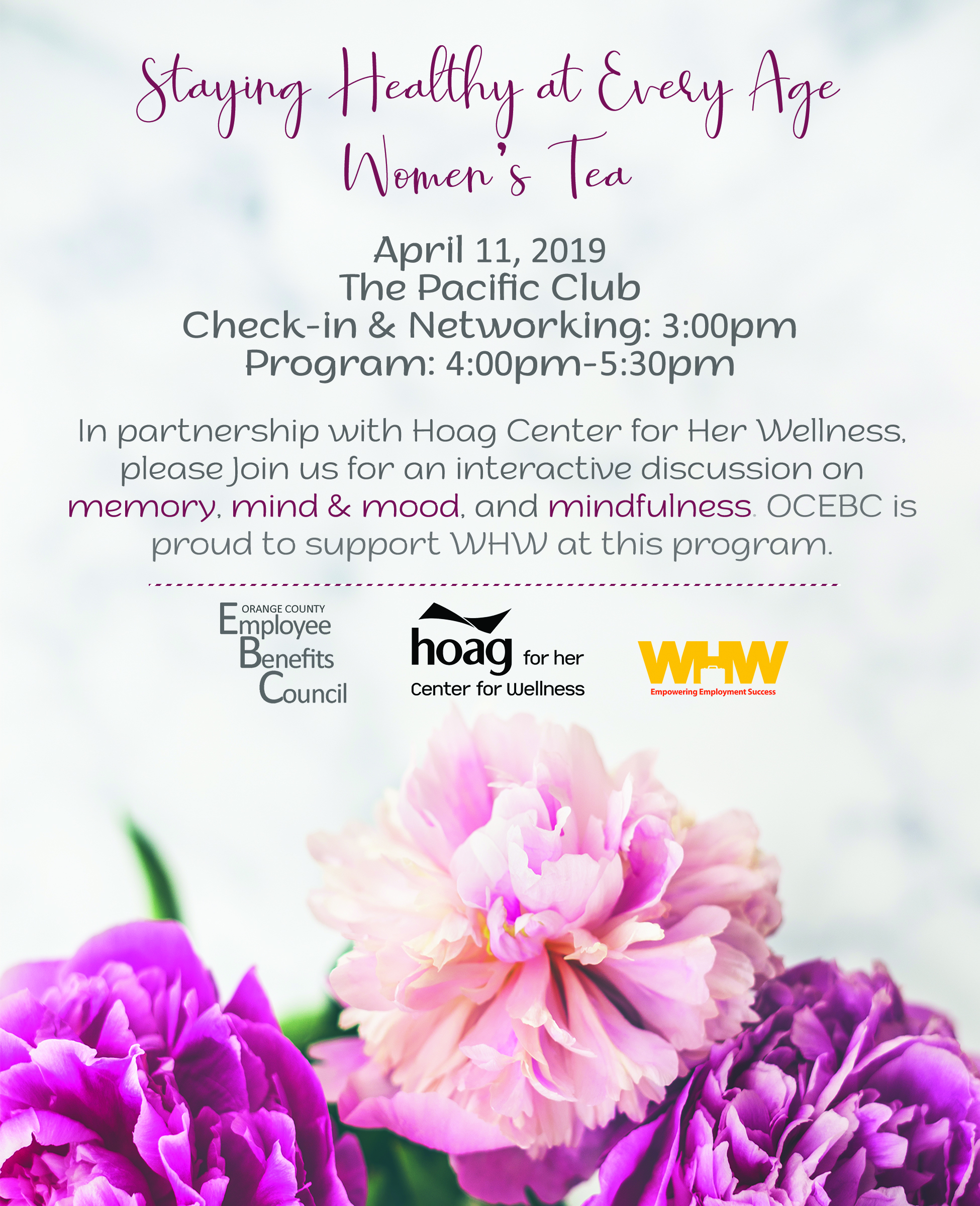 OCEBC 3rd Annual Staying Healthy at Every Age Women's Tea @ The Pacific Club